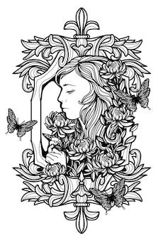Искусство татуировки женщины и цветок рука рисунок и эскиз черно-белый