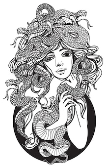 Искусство татуировки женщины и змея рука рисунок и эскиз черно-белый