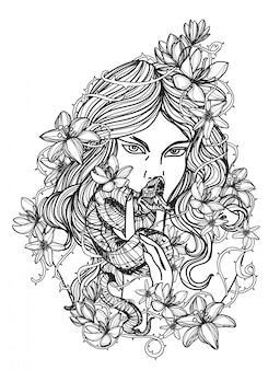 Tattoo art women and flower hand drawing