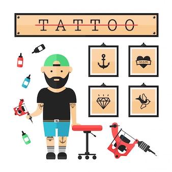 Мастер татуировки в салоне. вектор современный плоский стиль мультипликационный персонаж иллюстрации. изолированные. концепция татуировки. якорь, сердце, алмаз, ласточка