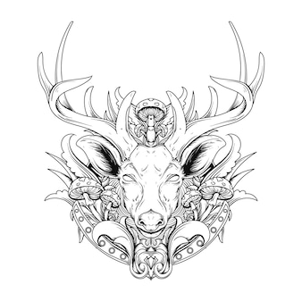 Tattoo black and white hand drawn illustration deer with mushroom engraving ornament