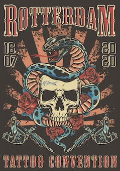 Convenzione del tatuaggio nel poster colorato di rotterdam