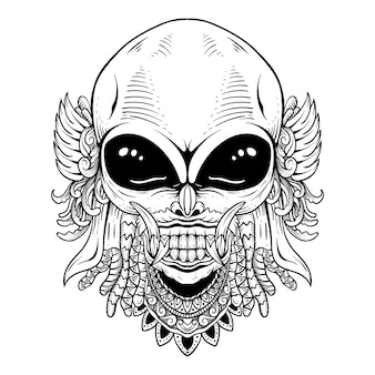 Тату дизайн инопланетянин с баронгом штриховая графика черный или белый