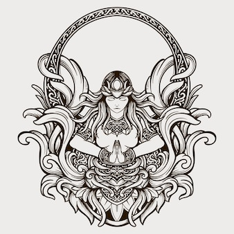 Tattoo design black and white hand drawn beauty goddess engraving ornament