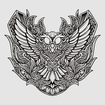 Tattoo design black and white hand drawn owl engraving ornament