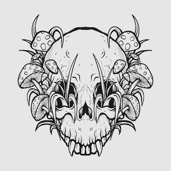 Tattoo design black and white hand-drawn skull and mushroom