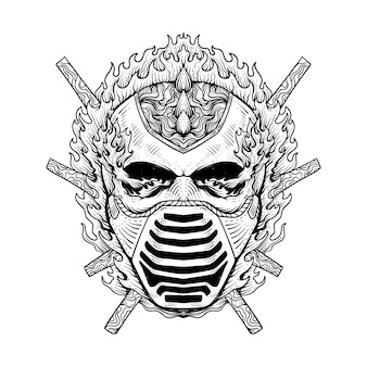 Tattoo design flaming skull wearing a mask line art black and whit
