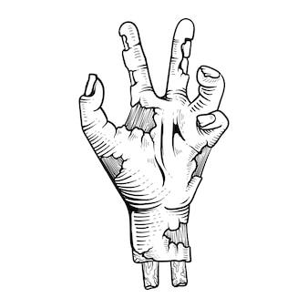 문신 디자인 할로윈 손 좀비 공포 라인 아트 조각 스타일 흑백