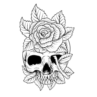Tattoo design hand drawn skull and roses line art black and white