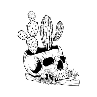 Tattoo design hand drawn skull with cactus line art black and white