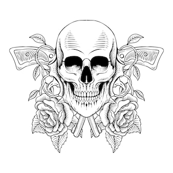 Tattoo design hand drawn skull with gun and roses line art engraving style