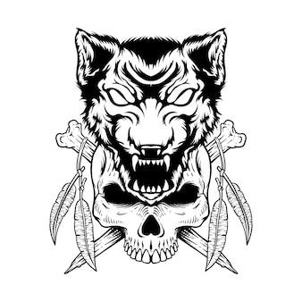 Tattoo design hand drawn  skull with wolf and mandala black and white
