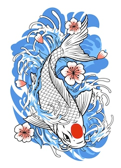 Tattoo design of koi fish in vintage style