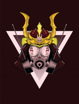 Tattoo design of samurai gas mask.