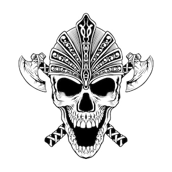 도끼 바이킹 라인 아트 흑백 일러스트와 함께 문신 디자인 두개골