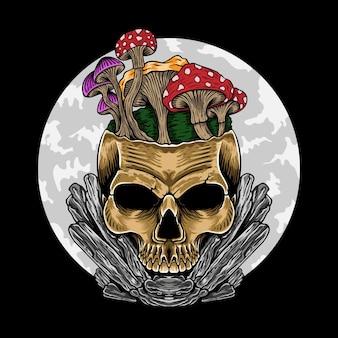 Tattoo design skull with mushroom line art black and white