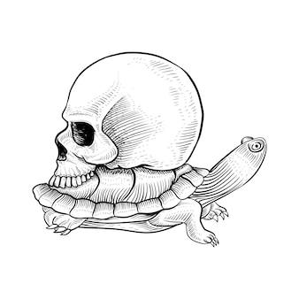 Дизайн татуировки: черепаха и череп рисованной иллюстрации