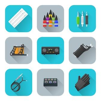 Tattoo equipment icons set