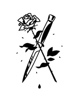 A tattoo featuring a knife and a rose