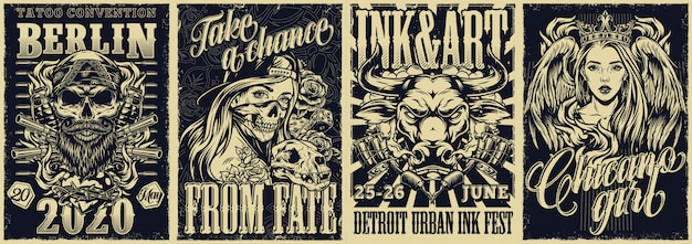 Tattoo fests and chicano style vintage posters