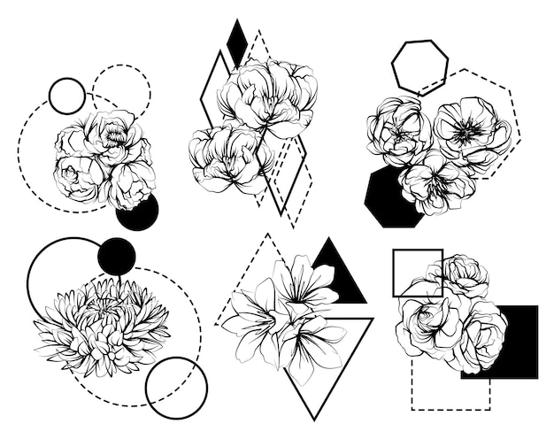 Tattoo flowers hand drawing sketch black and white
