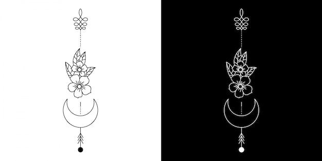 タトゥーの幾何学的な花