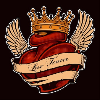 왕관에 날개를 가진 문신 심장. chicano 문신, 셔츠 그래픽 디자인. 모든 요소, 텍스트, 색상은 별도의 레이어에 있습니다. (컬러 버전)