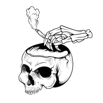 黒と白の喫煙ラインアートとタトゥーのアイデアtシャツデザインスカル
