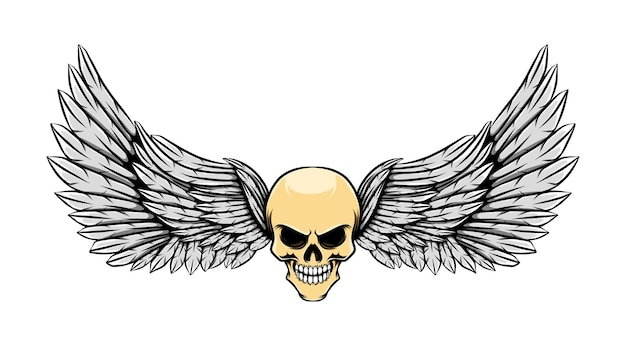 Tattoo illustration of glossy dead skull with wings
