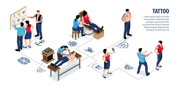 Tattoo isometric infographics with clients choosing design style and artists