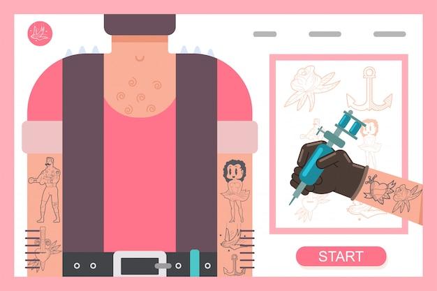 Машинка татуировки в руке. векторная иллюстрация плоской концепции.