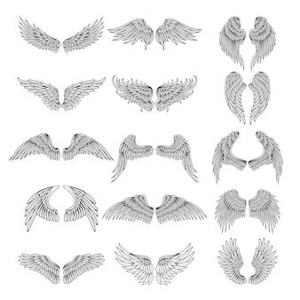 さまざまな様式化された翼のタトゥーの写真。ロゴのイラスト。翼の天使や鳥のタトゥーのセット
