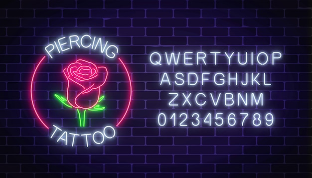 Tattoo and piercing parlor glowing neon signboard with rose emblem and alphabet