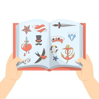 Набор тату-портфолио. коллекция старинного ретро-искусства в книге. тату олд скул. иллюстрация