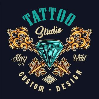 タトゥーサロンカラフルなロゴ