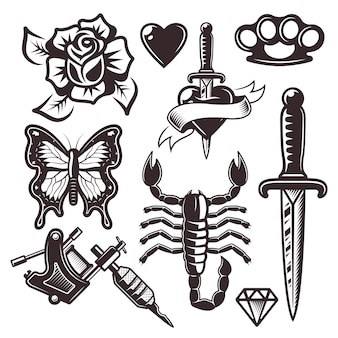 Tattoo set of objects and design elements in monochrome style