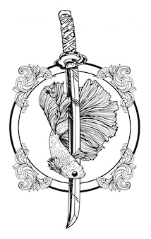 Tattoo of siamese fighting fish hand drawing and sketch black and white