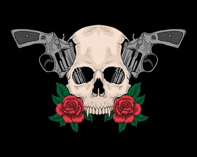 タトゥーの頭蓋骨と銃のバラが分離