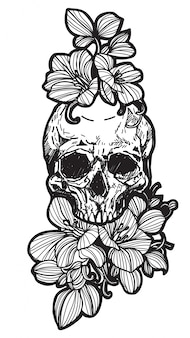 Tattoo skull and flower