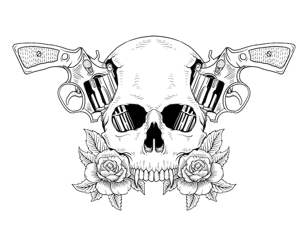 Tattoo skull and gun roses isolated