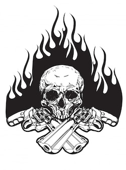 Tattoo skull and gun