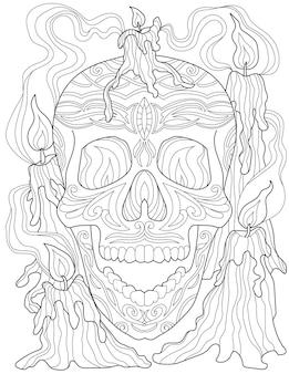 그의 입을 벌리고 조명 된 촛불에 둘러싸여 문신 해골 라인 드로잉. 무서운 스켈레톤 머리 그리기 동봉된 불타는 횃불과 스모키 환경.