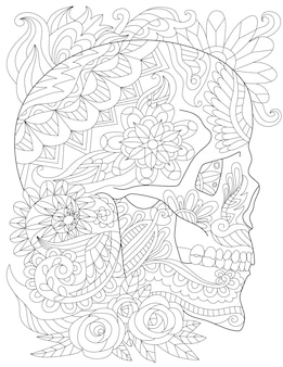 예쁜 장미와 옆면을 바라보는 기분 좋은 잎으로 둘러싸인 문신 두개골 선 그리기