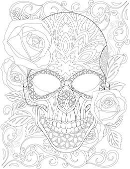 예쁜 장미와 입을 다물고 기분 좋은 나뭇잎으로 둘러싸인 문신 해골 선 그리기