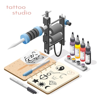 Tattoo studio accessories tools supply isometric composition with ink design sketches liner shader machine illustration