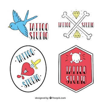 Tattoo studio badges, doodle style