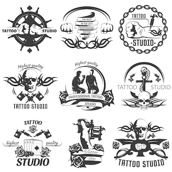 Tattoo studio black white emblems
