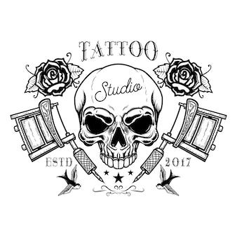 Tattoo studio emblem template. crossed tattoo machine, skull, roses. design element for logo, label, sign, poster, t shirt.