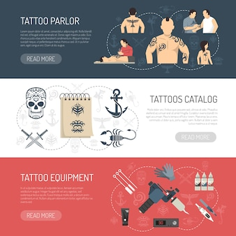 Tattoo studio horizontal banner set