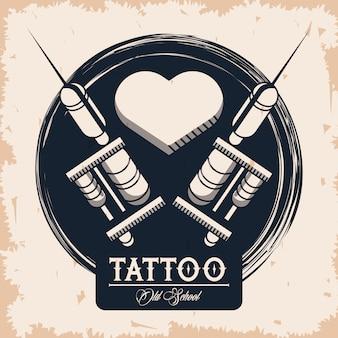 Tattoo studio machines with heart image artistic